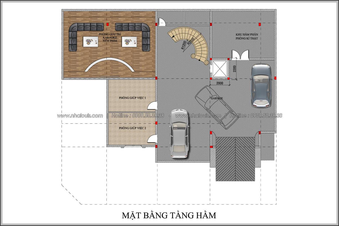 Mặt bằng tầng hầm thiết kế biệt thự có tầng hầm tại Bình Tân - 04