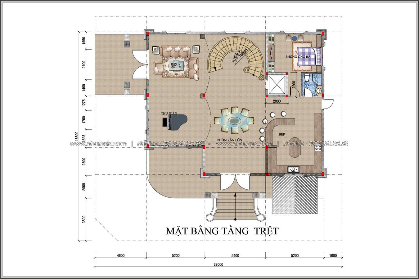 Mặt bằng tầng trệt thiết kế biệt thự có tầng hầm tại Bình Tân - 05