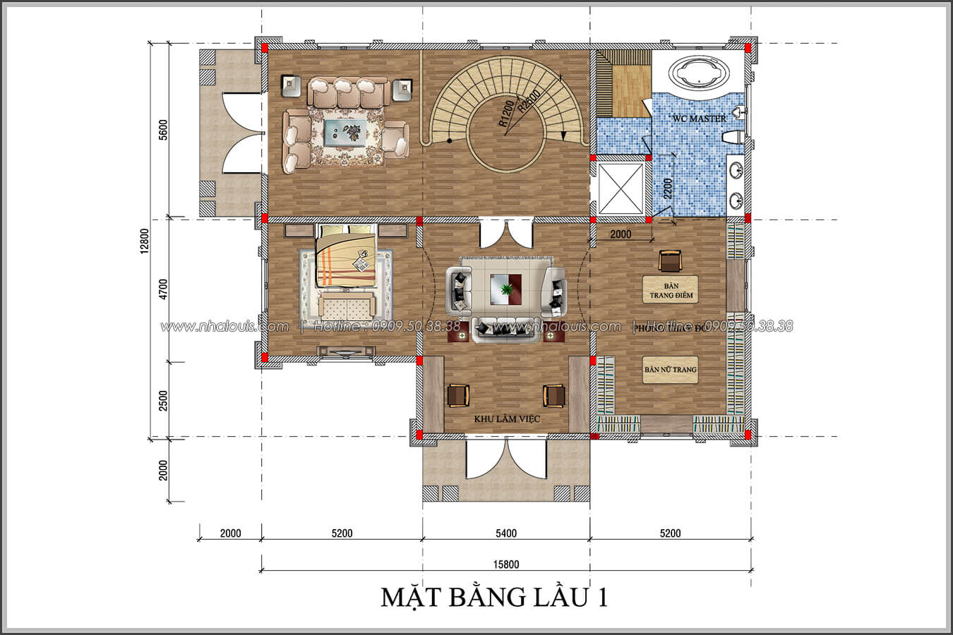 Mặt bằng lầu 1 thiết kế biệt thự có tầng hầm tại Bình Tân - 06