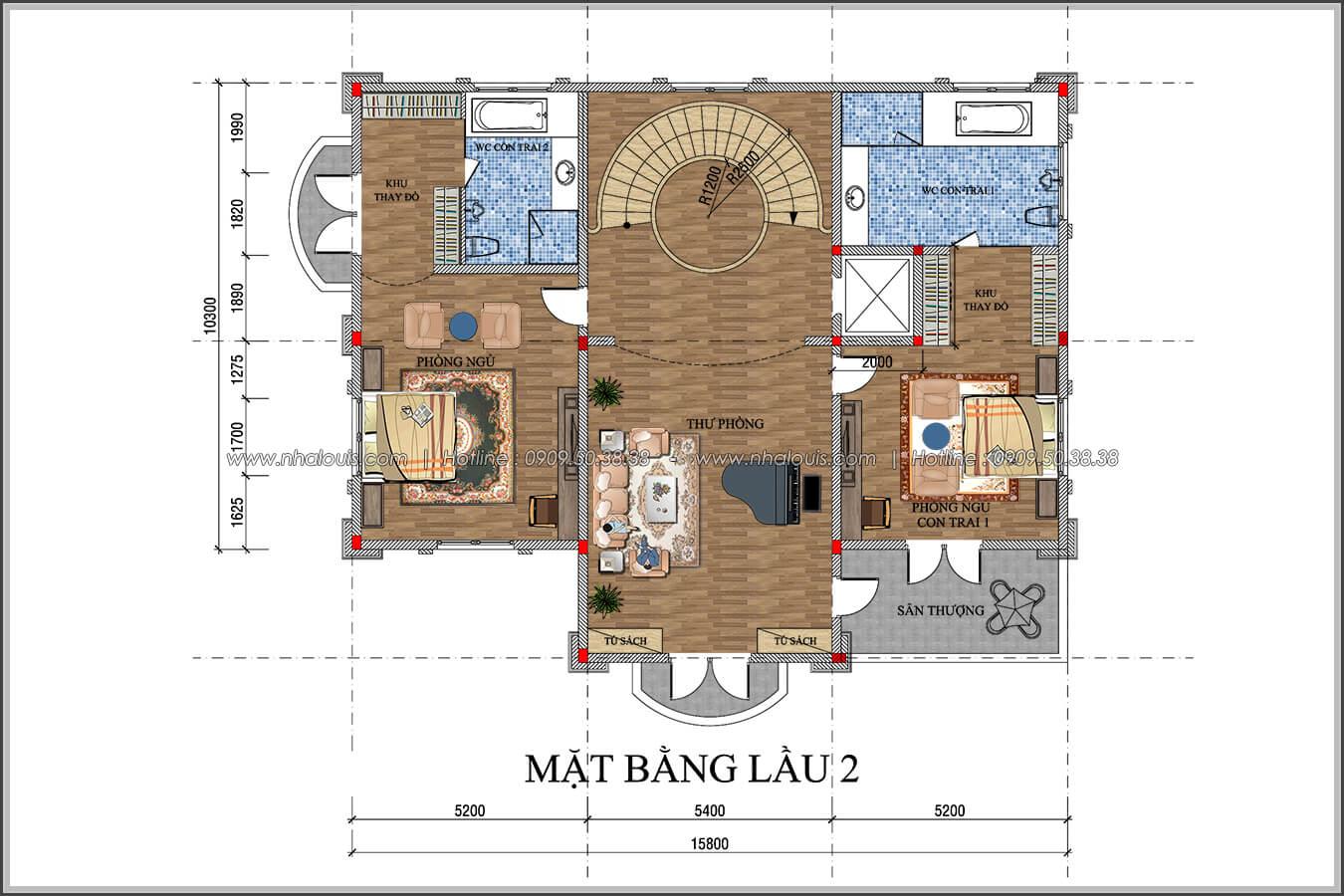 Mặt bằng lầu 2 thiết kế biệt thự có tầng hầm tại Bình Tân - 07