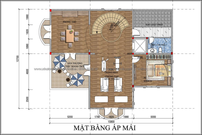 Mặt bằng áp mái thiết kế biệt thự có tầng hầm tại Bình Tân - 08