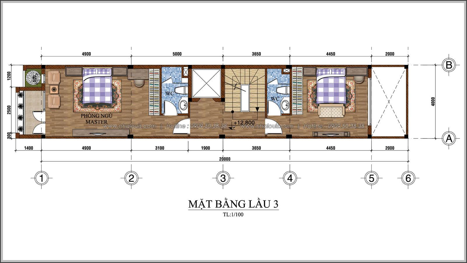 Mặt bằng lầu 3 Tư vấn thiết kế mẫu nhà đẹp 4x20 tại quận 8 - 06
