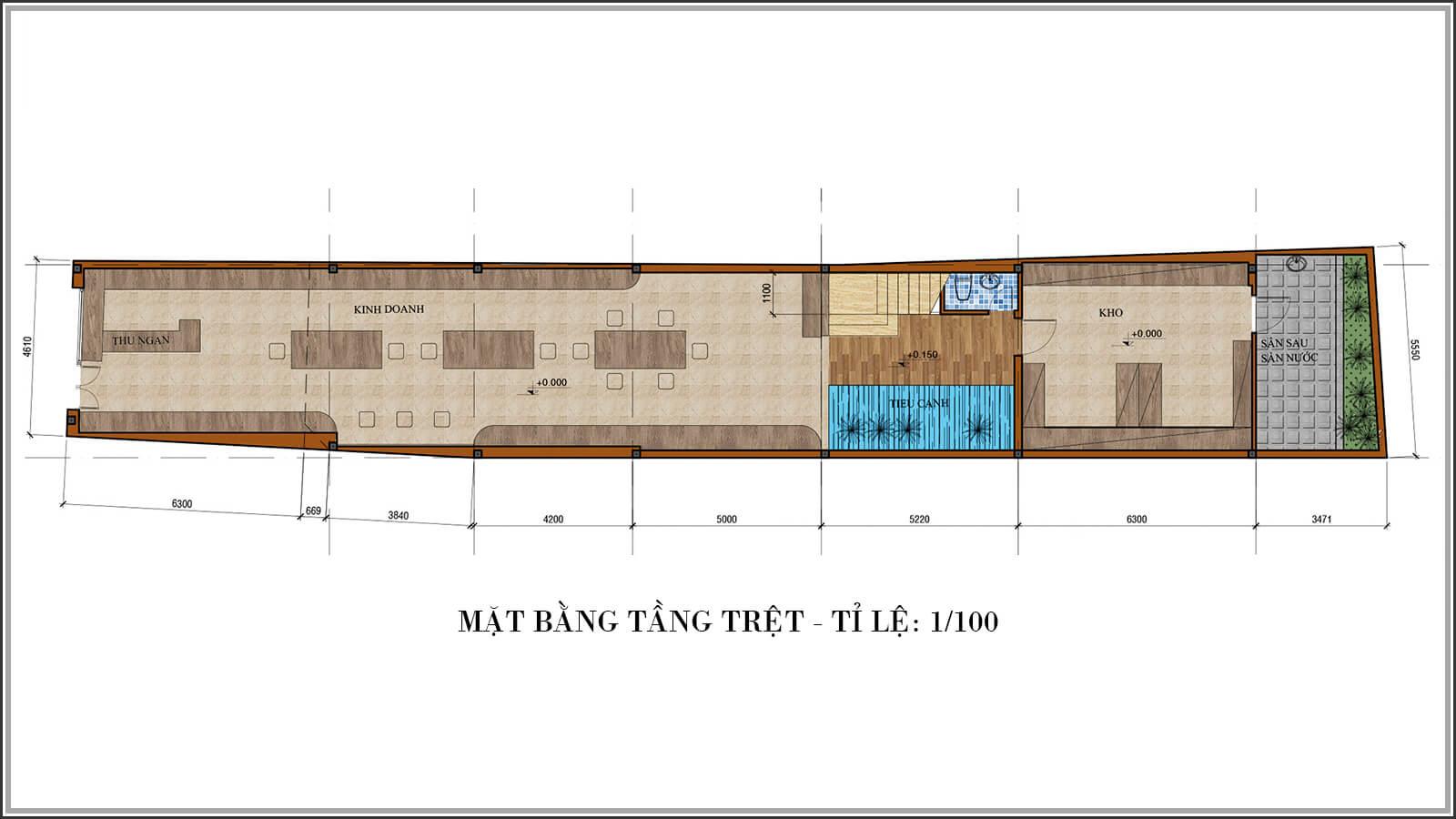 Mặt bằng tầng trệt Tư vấn thiết kế nhà phố mặt tiền 5m kết hợp kinh doanh tại Tân Bình - 03