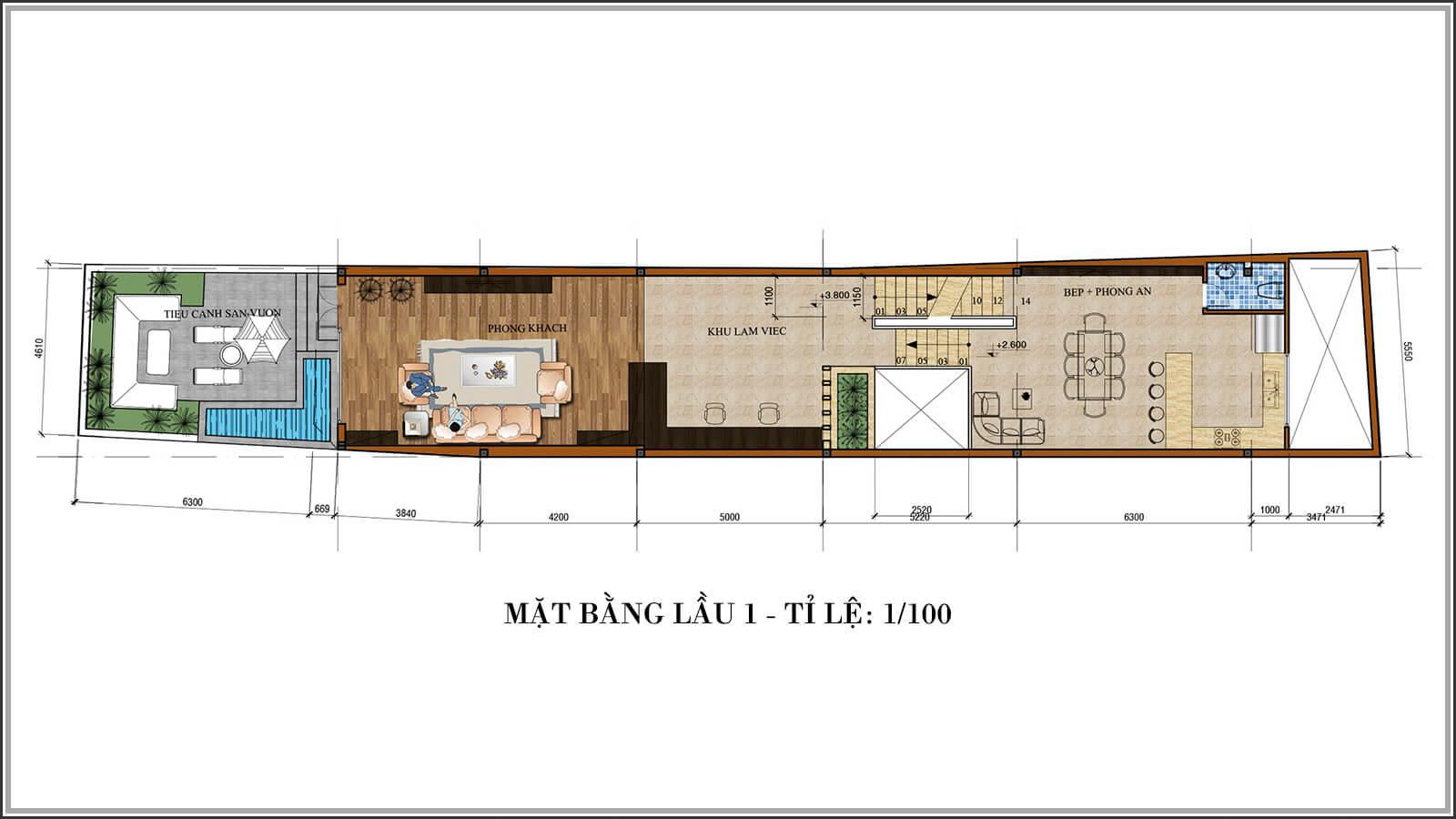 Mặt bằng lầu 1 Tư vấn thiết kế nhà phố mặt tiền 5m kết hợp kinh doanh tại Tân Bình - 04