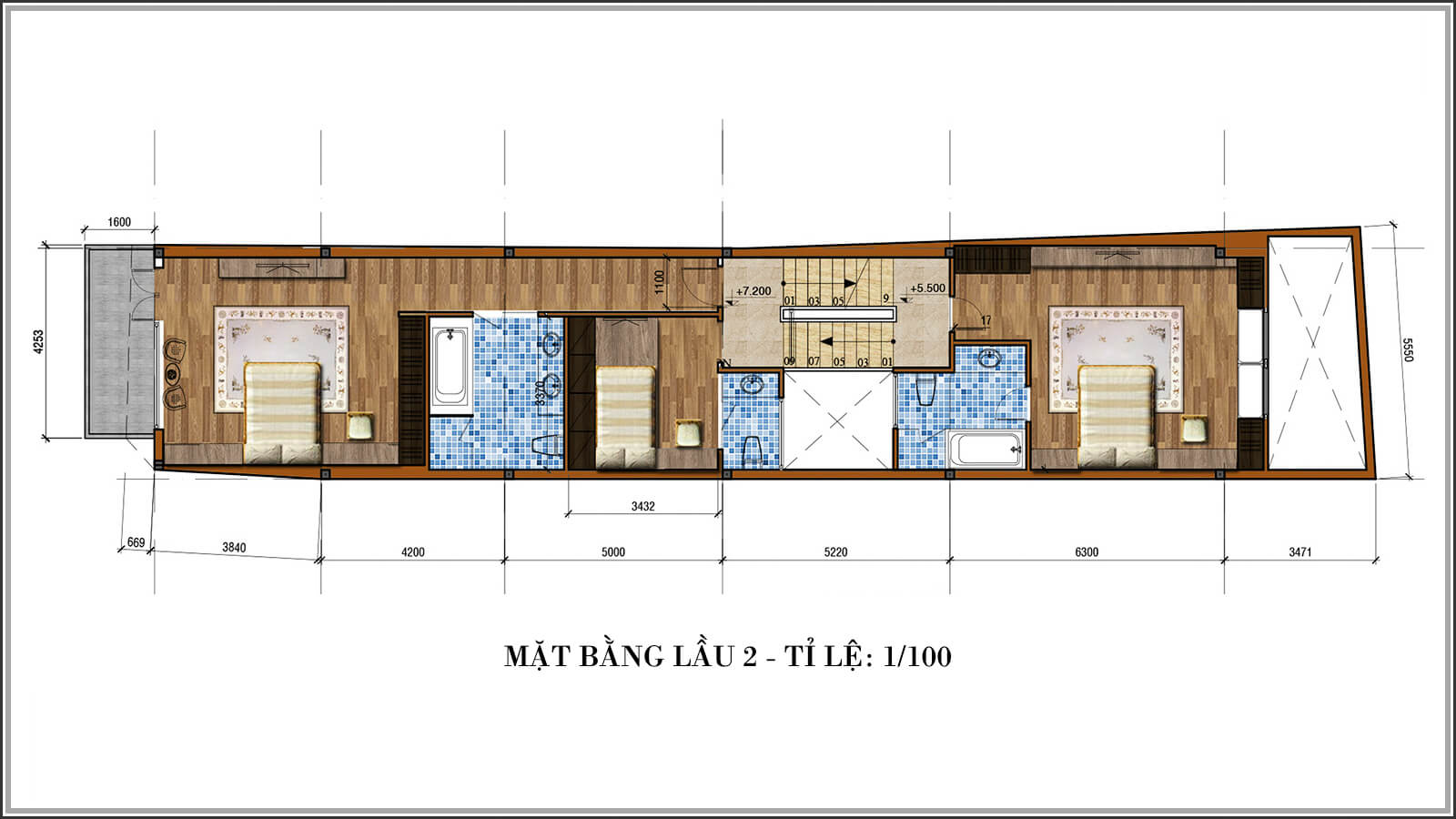Mặt bằng lầu 2 Tư vấn thiết kế nhà phố mặt tiền 5m kết hợp kinh doanh tại Tân Bình - 05