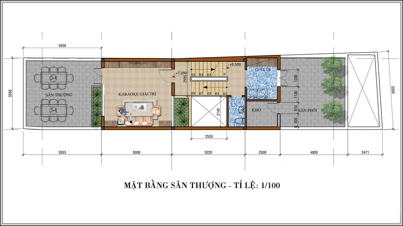 Mặt bằng sân thượng Tư vấn thiết kế nhà phố mặt tiền 5m kết hợp kinh doanh tại Tân Bình - 07