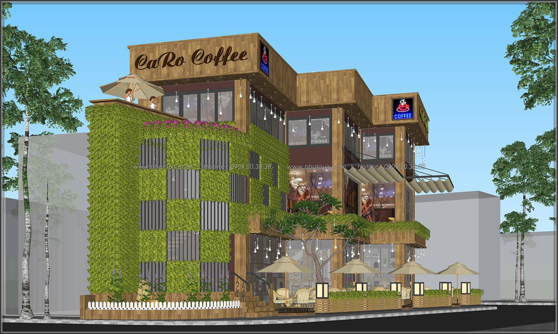 Mặt tiền thiết kế quán cafe đẹp không gian xanh sang trọng ở Bình Dương - 7