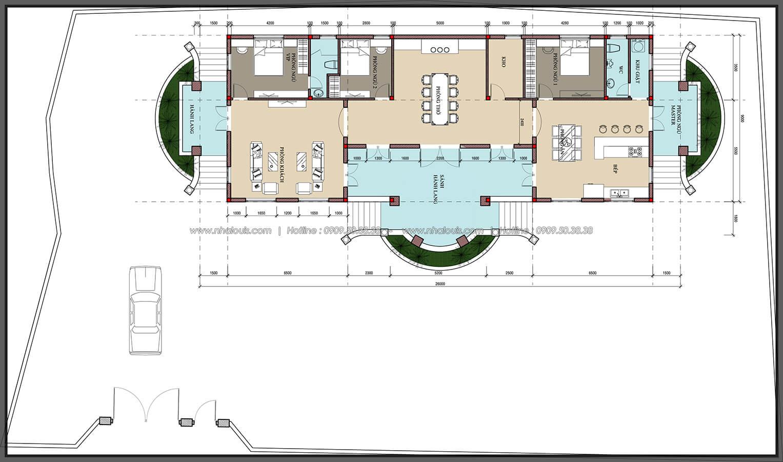 Mặt bằng Vẻ đẹp giản đơn của ngôi biệt thự 1 tầng 3 phòng ngủ tại xứ dừa Bến Tre - 6