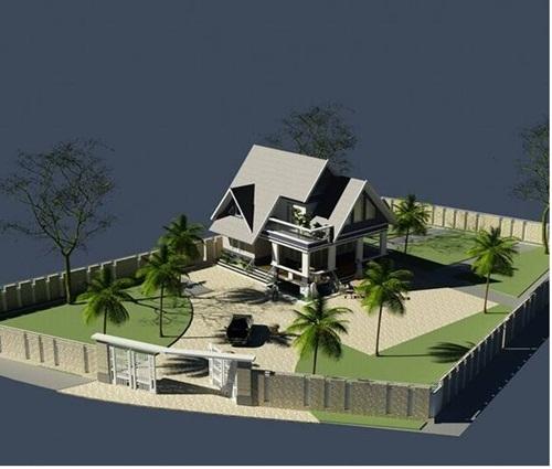 Biệt thự mini 1 tầng trên mảnh đất hình thang rộng 2000 m2