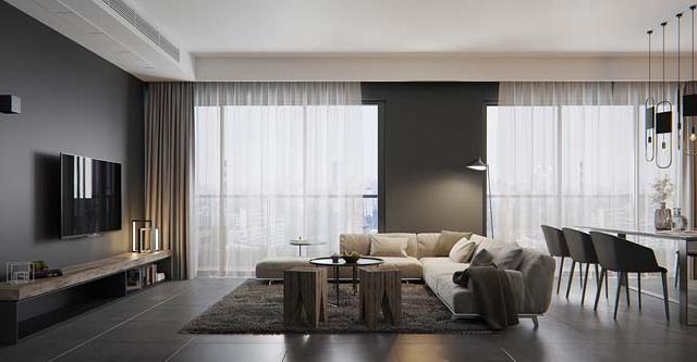 Căn hộ chung cư cá tính với gam màu xám