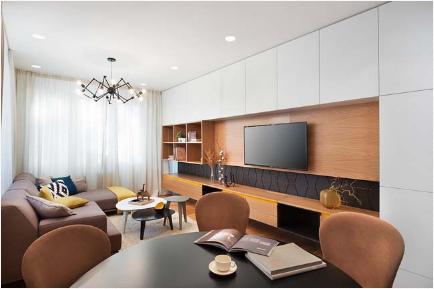 Căn hộ chung cư được trang trí với hiệu ứng hình học