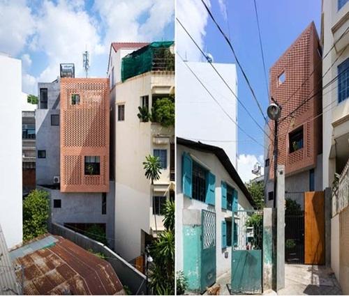 Căn nhà phố mặt tiền gạch đỏ 4 tầng nổi bật hút mắt