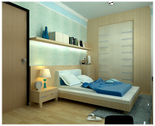 Mát lành với căn hộ chung cư màu xanh