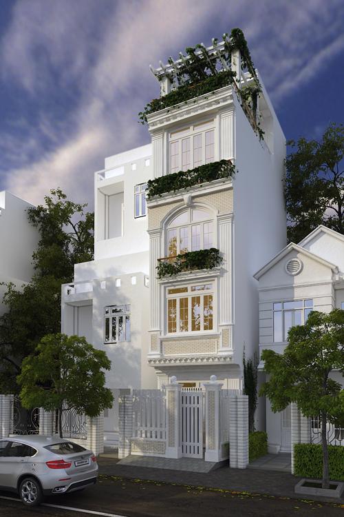 Mẫu nhà phố diện tích 40m2 mang đậm phong cách cổ điển