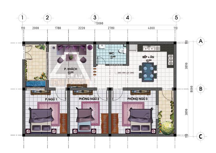 Mẫu nhà trệt nhỏ đẹp cho gia đình cực xinh xắn và ấm cúng - 02