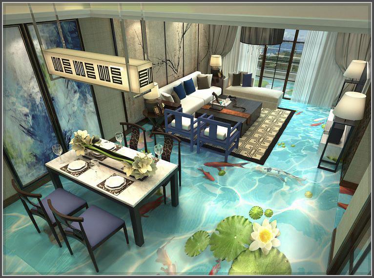 Mẫu phòng khách đẹp sang trọng với sàn nhà 3D