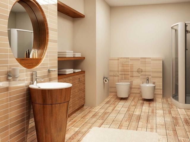Mẫu WC đẹp sử dụng chất liệu gỗ