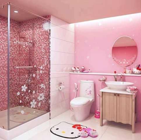 Mẫu WC đẹp đầy nữ tính với sắc hồng tươi mát