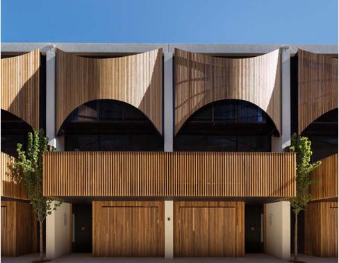 Mẫu nhà liền kề với thiết kế ngoại thất bằng gỗ sang trọng - 0