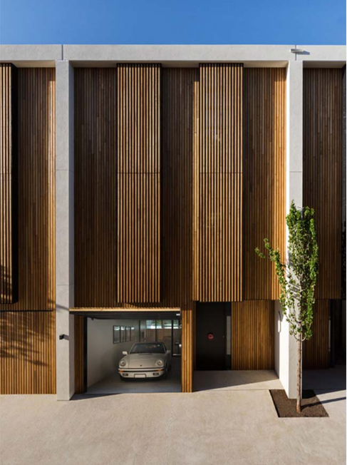 Mẫu nhà liền kề với thiết kế ngoại thất bằng gỗ sang trọng - 02