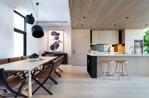 Mẫu nhà liền kề với thiết kế ngoại thất bằng gỗ sang trọng - 05