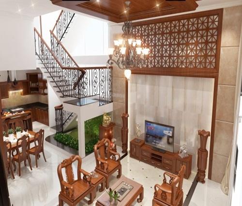 Ngôi nhà cổ điển 4 tầng với toàn chất liệu gỗ
