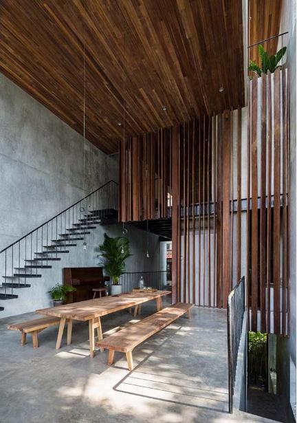 Mẫu nhà ống thiết kế bê tông và gỗ đẹp tinh xảo đầy cuốn hút - 03
