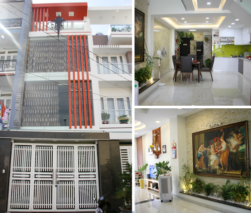 Thi công xây dựng nhà phố 1 trệt 2 lầu phong cách hiện đại ở Tân Phú