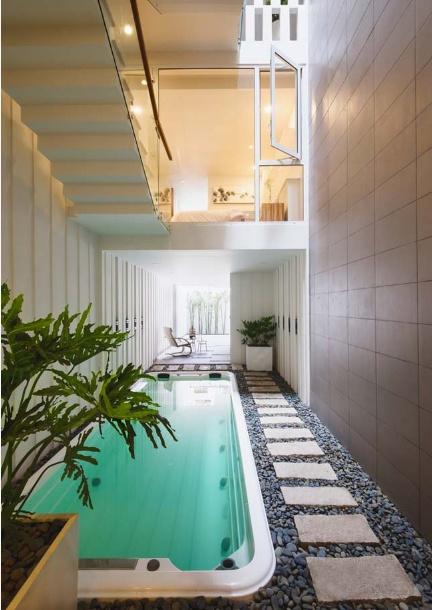 Mẫu thiết kế nhà phố 4 tầng có hồ bơi mang tên kính vạn hoa - 03