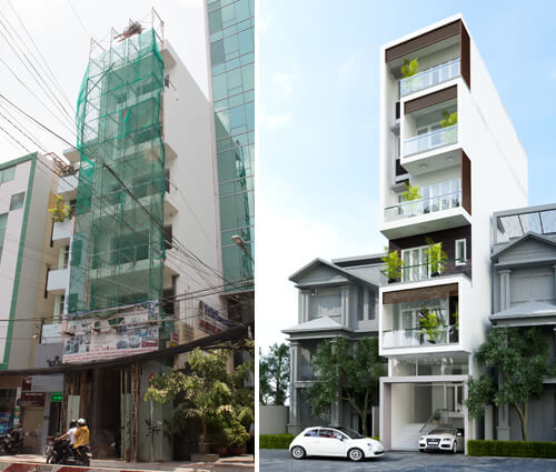 Thi công xây dựng nhà 5 tầng đẹp kết hợp văn phòng cho thuê ở Quận 1