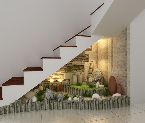 Những mẫu tiểu cảnh chân cầu thang tô điểm cho ngôi nhà