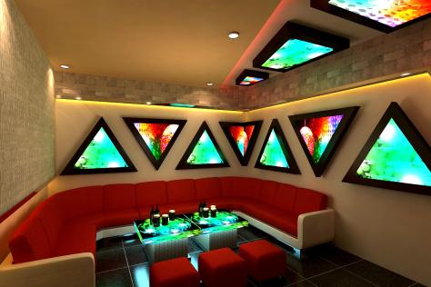 Phòng karaoke đẹp đầy màu sắc tươi tắn, bắt mắt