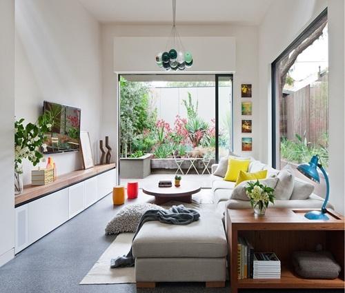 Phòng khách sống động cho những ngôi nhà hiện đại, trẻ trung