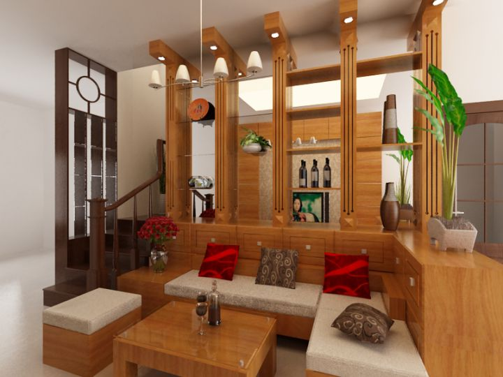 Phòng khách sử dụng chất liệu gỗ đầy sang trọng