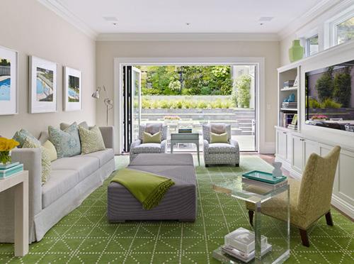 Phòng khách trẻ trung với màu xanh tươi mát