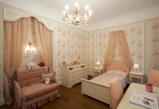 Phòng ngủ màu hồng công chúa khiến các bé gái mê mẩn