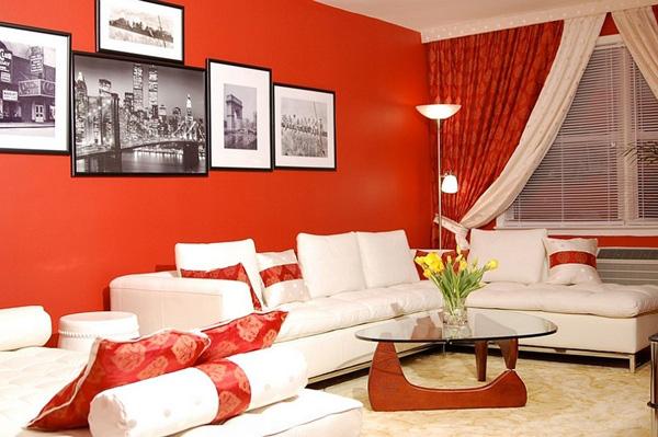 sắc đỏ nồng nàn cho phòng khách