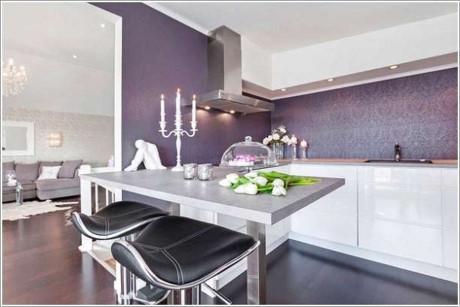 Thêm chút tím mơ màng cho phòng bếp đẹp sang trọng