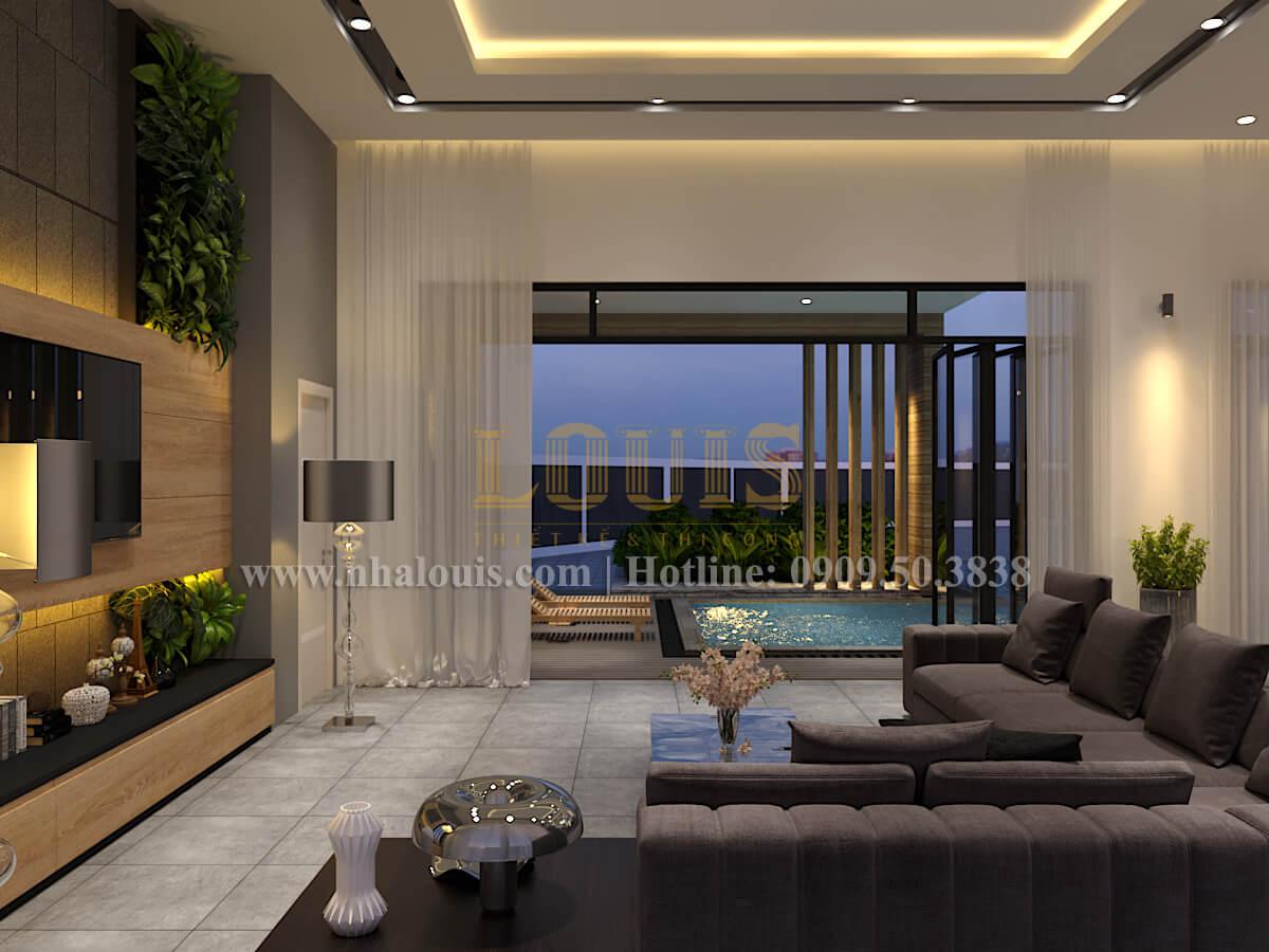 Phòng khách biệt thự phong cách hiện đại Cần Thơ