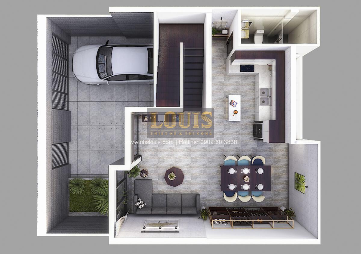 Mặt bằng Thiết kế biệt thự mini 2 tầng hiện đại tại Bình Dương