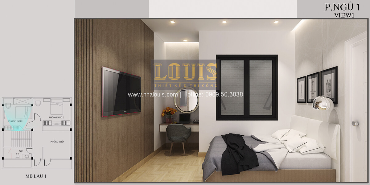 Phòng ngủ Thiết kế biệt thự mini 2 tầng hiện đại tại Bình Dương
