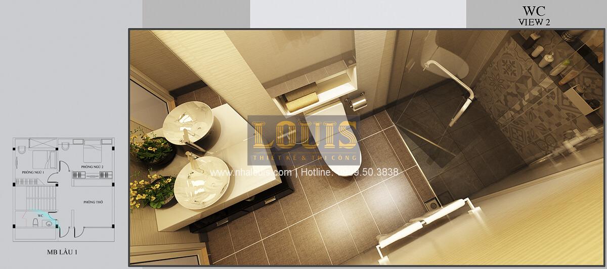 Phòng tắm và WC Thiết kế biệt thự mini 2 tầng hiện đại tại Bình Dương