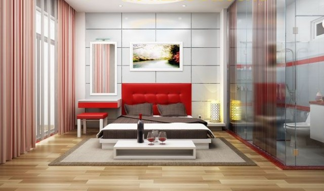 Thiết kế biệt thự mini sử dụng gam màu đỏ làm điểm nhấn