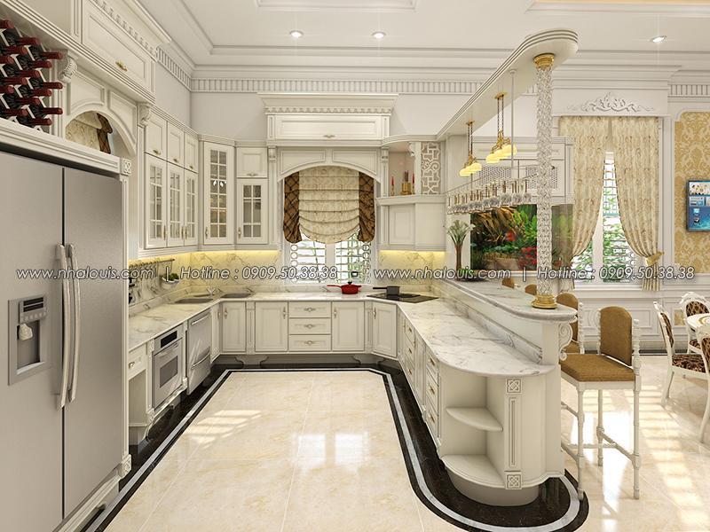 Phòng bếp kết hợp quầy bar Thiết kế biệt thự tân cổ điển ở Tây Ninh đậm chất quý tộc - 11