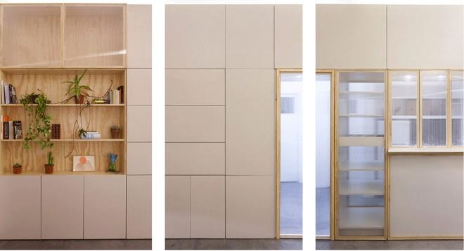 Thiết kế căn hộ 60m2 tiện lợi nhờ biến tường thành tủ đồ