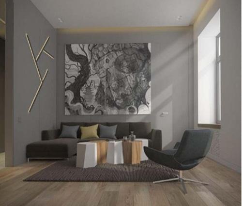 Thiết kế căn hộ chung cư 1 phòng ngủ có tông màu xám