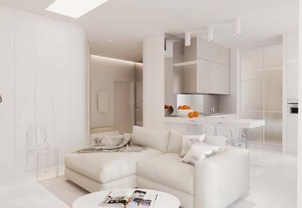 Thiết kế căn hộ chung cư mang sắc trắng kiêu sa