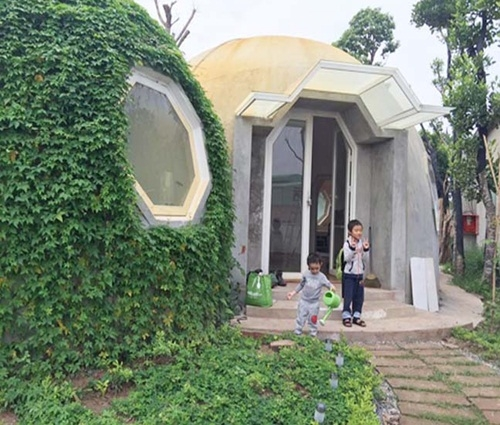 Thiết kế mẫu nhà trệt hình tròn độc đáo tại Láng – Hòa Lạc