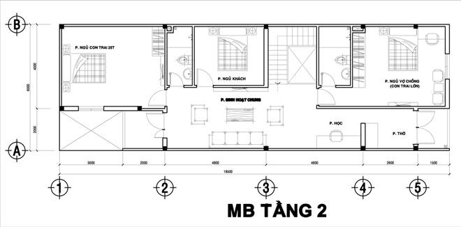 Thiết kế nhà 2 tầng 120m2 cho đại gia đình 2 thế hệ - 02