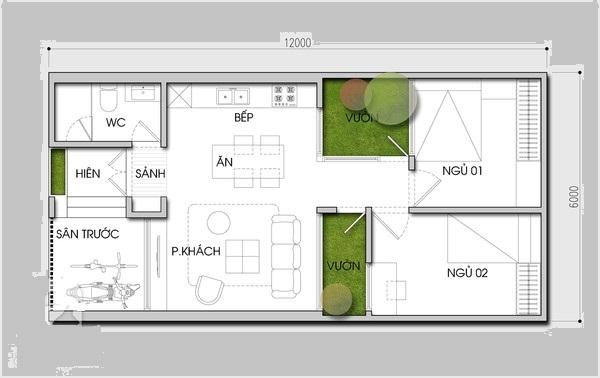 Thiết kế nhà cấp bốn 6x12m gần gũi với thiên nhiên